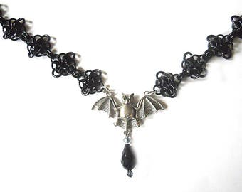 Bat necklace, Silver and black bat choker, Gothic jewelry, Bat wing jewelry, Flying bat necklace, Black chainmail necklace, Rosettes weave