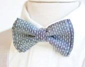 Bow Tie, Mens Bow Tie, Bowtie, Bowties, Bow Ties, Groomsmen Bow Ties, Wedding Bowties, Christmas Bow Tie, Ties - Indigo Chambray Dot