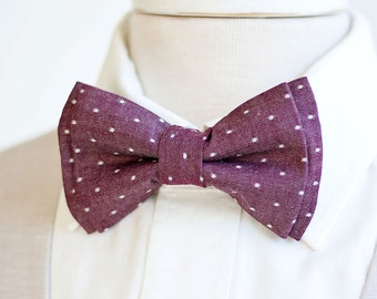 Bow Tie, Mens Bow Tie, Bowtie, Bowties, Bow Ties, Groomsmen Bow Ties, Wedding Bowties, Christmas Bow Tie, Ties - Cranberry Chambray Dot