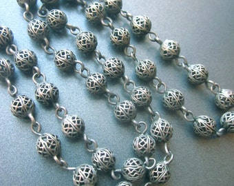 Sterling Silver Filigree Vintage Necklace Wire Beaded Jewelry
