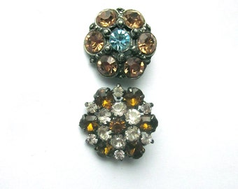 Vintage Rhinestone Button Lot of 2