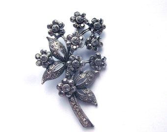 Marcasite Rhinestone Floral Brooch Clusters