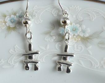 Sterling silver and bali bead inukshuk dangle earrings, inukshuk jewelry, I love Canada