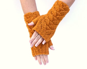 Lace knit arm warmers honey mustard womens fingerless gloves Fall Thanksgiving gift for her Christmas
