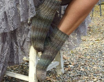 Hand knit socks gray green graduated colors wool nylon girls socks womens socks gift for her bed socks boot socks