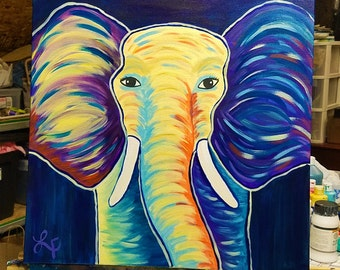 Handpainted - Thunder the Elephant - 18 x 18 Canvas