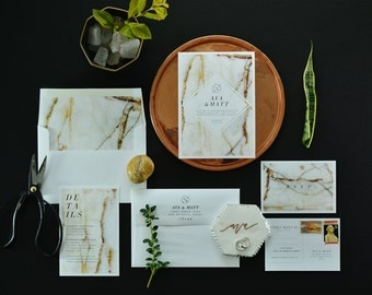AVA SUITE // Granite Wedding Invitation, Neutral Design, Modern Urban Wedding Invitations, Marble, Organic, Natural, Loft, City , Neutral