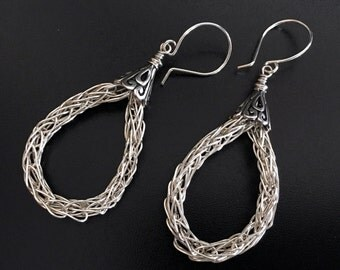 Sterling Silver Viking Knit Hoop Earrings on Sterling Ear Wires.  Handmade.  Posts Available.  Hoop Earrings.  One of a Kind. (E200)