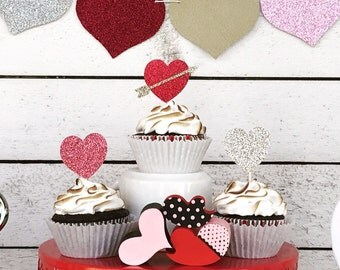 Glitter Valentine Heart cupcake toppers -  Set of 12 - Valentine Heart Party Decor  - Valentine Topper
