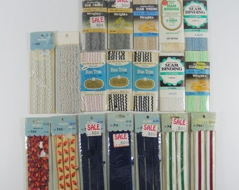 Vintage Sewing Trim 18 Packages of Trim Lace Seam Binding Woven Trim Lace Bias Tape Trim