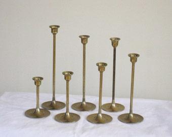 Vintage Set of 7 Brass Graduated Candlesticks, Decorative Mantle Centerpiece Home Decor, Taper Candleholder Collection