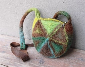 Knitted Felted Wool Bag Geometry Mix, Brown, Teal, Green and Lime Purse