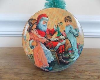 Vintage Christmas Paper Gift Box, Paper Trinket Box, Christmas Box, Decorative Box, Hanging Ornament Box, Santa, Santa Claus, Small Gift Box
