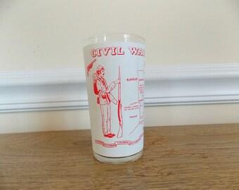 Vintage Civil War Centennial Souvenir Glass, Frosted Glass, Souvenir Glass, Civil War, Collectible, Kitchen, Drinking Glass, Tumbler