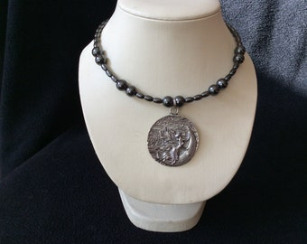 Moon fairy magnetic hematite hand beaded memory wire choker necklace