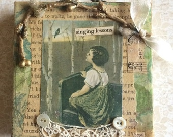 Inspirational Wall Plaque featuring Vintage Photo of Young Child looking at Song Bird