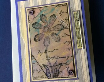 Handmade Card with Stamped Flower Image and Affection Theme