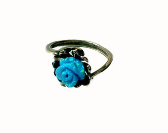 opal rose silver flower amazing ring