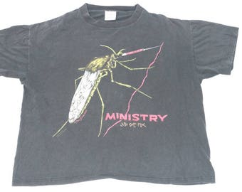 Vintage MINISTRY Band T-shirt Rock Shirt 90's Just One Fix Concert Tour Heavy Metal