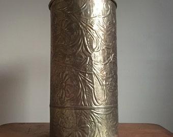 Vintage Gold Hammered Metal Container. Umbrella Stand or Wastebasket.
