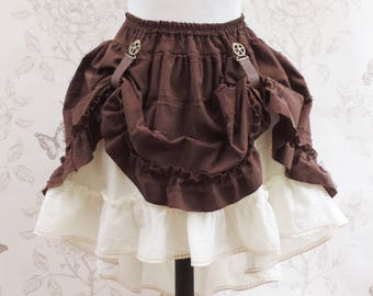 Brown steampunk skirt,brown & cream skirt ,  bustle skirt ,embroidered skirt, steampunk clothing, pirate, saloon, western skirt, country