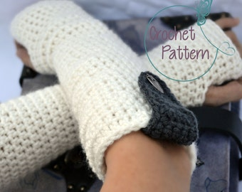 Crochet Pattern for women, white long arm warmers, PDF, crochet glove pattern, Instant download, fingerless gloves,  texting gloves, mittens