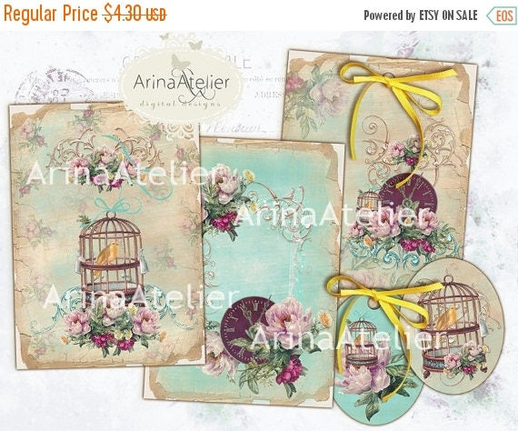 SALE 70% OFF - Old Time Peonies Cards - Digital Tags - set of 6 - 2,5x3,5 inches ATC cards - digital download