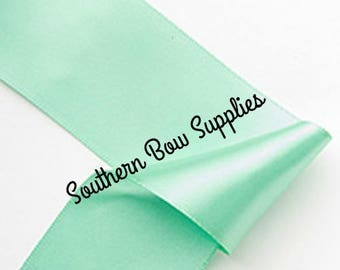 1.5 inch Double Sided SATIN Ribbon---5 Yards---Mint Green---Hair bow Making Supplies