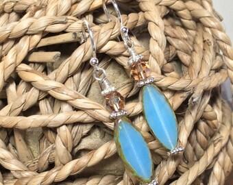 Sterling Silver, Czech Glass, and Swarovski Austrian Crystal Earrings