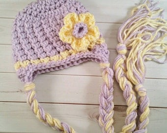 Newborn Baby Girl Earflap Flower Hat,Purple and Yellow, Outfit Costume, Crochet Spring Hat, Easter