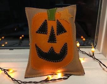 Mini Pumpkin Jack-o-Lantern Halloween Wool Felt Pillow