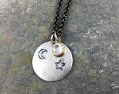 Star and Moon Necklace, Silver Star Pendant, Moon Necklace, Hand Stamped Jewelry, Crystal Necklace, Celestial Gift