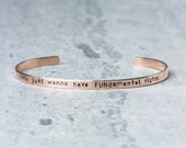 Political Thin Feminist Cuff Bracelet - Girls Just Want to Have FUNdamental Rights - 15% Donated to Planned Parenthood - Feminist Jewelry