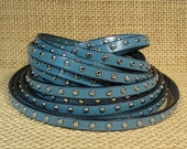 5mm Flat Studded Leather  - Teal - SL5-20 - Choose Your Length