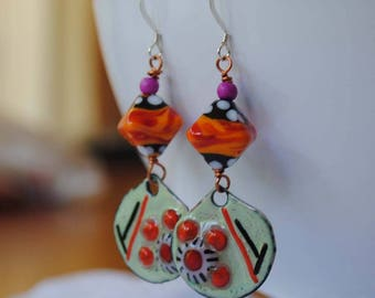 Orange Enamel Earrings, Lampwork Glass Beads, Colorful Earrings, Artisan Enamel, Funky Modern Earrings, Abstract Earrings