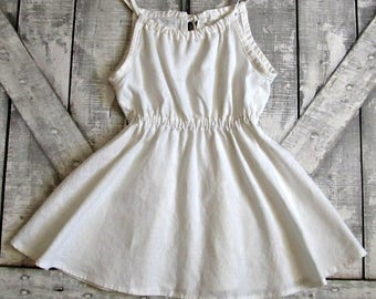 Girls White Summer Dress- Custom Made- Beach Dress- Toddler Summer Dress- Tween Summer Dress- Sizes 3 4 5 6 8 10 12 Years
