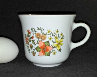 1970s Corelle Livingware Indian Summer Flat Cup / Vintage Corelle Indian Summer Coffee Cup