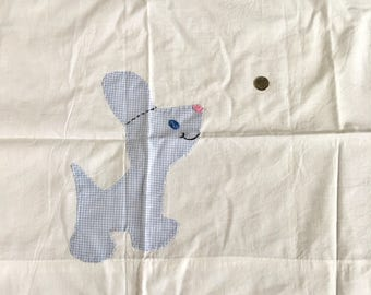 Vintage Appliqued Cotton Fabric Curtain Puppy Gingham Juvenile