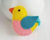 Spring Bird Felt Alligator Clip or Snap Clip - Medium Size - Lemon Yellow - Spring - Easter - Bird