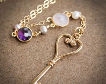 VALENTINE SALE Gold Skeleton Key Layering Necklace - Pearls, Chalcedony, Amethyst - French Couture Inspired