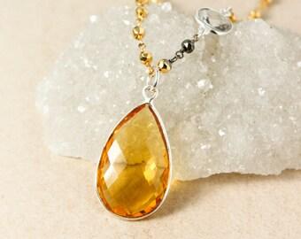 Golden Citrine Quartz Necklace - Gold, Black, Silver Pyrite Chain - Crystal Quartz, Layering Necklace