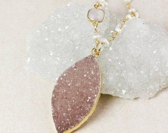 50 OFF SALE Pink Chalcedony and Druzy Leaf Necklace – Choose Your Druzy – Freshwater Pearl Beaded Chain