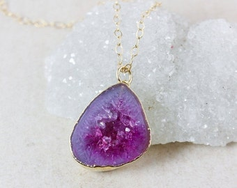 50 OFF SALE Fuschia Pink Geode Druzy Necklaces - 14K Gf - Choose Your Druzy