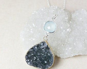 50% OFF Aqua Chalcedony and Teardrop Druzy Necklace – Choose Your Druzy – 925 Sterling Silver