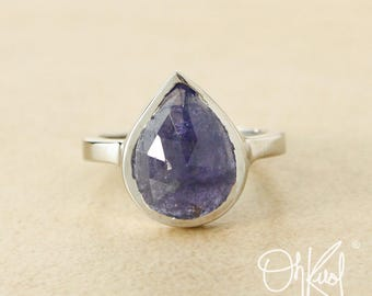 Silver Pear Cut Blue Iolite Statement Ring - Teardrop Blue Iolite Ring - Polished Band