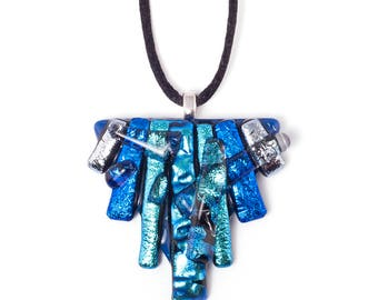 Blue Layered Triangle Necklace