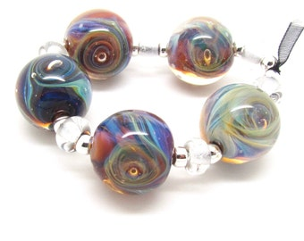 Silver Glass Sampler, Lampwork Bead Set, Lampwork Beads, Glass Beads, UK, FHFteam, SRA