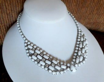 Vintage MILK GLASS Baguette & Rhinestone Necklace Bib Choker