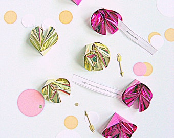 Foil fortune cookies, set of 12, party decor, custom messages, favors