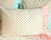Pink Deer Ruffled Pillowcase, Beautiful Pillowcase, Gold Dot Pillowcase, Big Girl Bedding Pillows, Queen Bedding